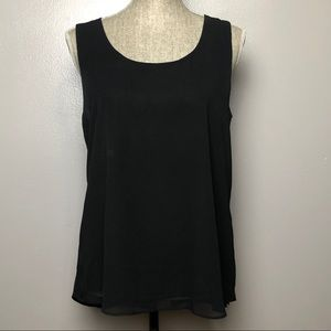 Black Tank with Studded Button Up Back M